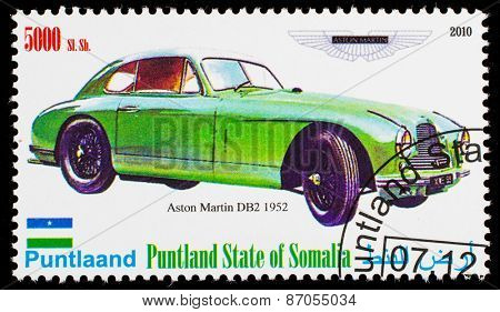 SOMALIA - CIRCA 2010: Postage stamp printed in Somali republic shows retro car,  Aston Martin DB2 1952,circa 2010.