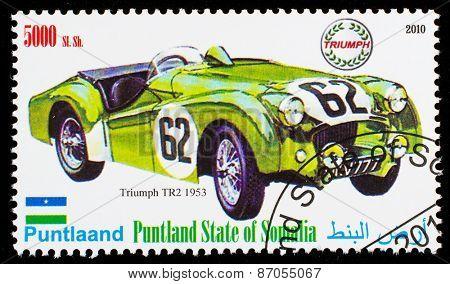 SOMALIA - CIRCA 2010: Postage stamp printed in Somali republic shows retro car, Triumph TR2 1953,circa 2010.