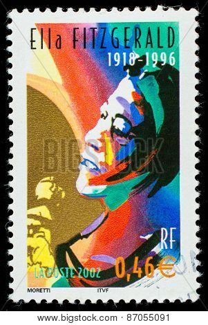 FRANCE - CIRCA 2002: A stamp printed by FRANCE shows image portrait of famous American jazz vocalist with a vocal range spanning three octaves Ella Fitzgerald, circa 2002