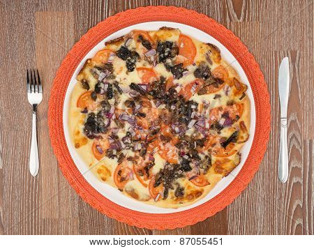 Delicious Pizza With Mushrooms