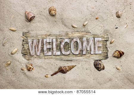 Welcome sign with sand beach border and seashells