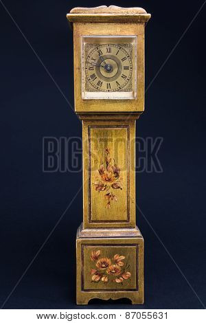 Retro Alarm Clock Tower Shaped On Black Background