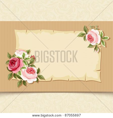 Vintage card with red and pink roses. Vector eps-10.