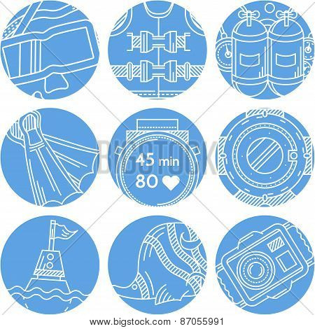 Round blue vector icons for diving