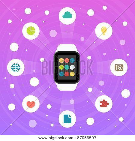 Smart Watch Vector Flat Design