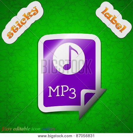 Audio, Mp3 File Icon Sign. Symbol Chic Colored Sticky Label On Green Background. Vector