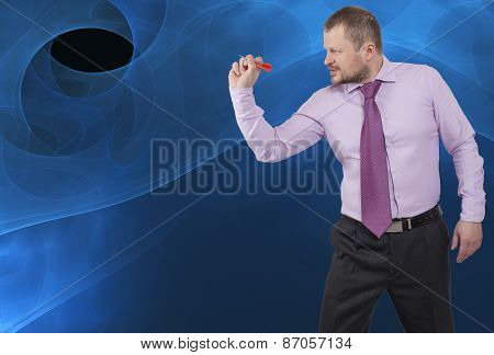 Businessman aiming by dart on abstract background