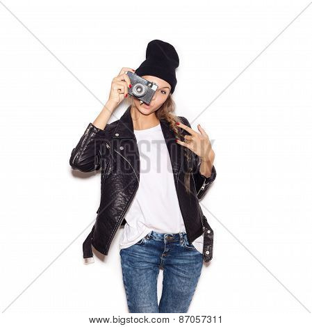 Hipster Girl In Hat With  Vintage Noname Camera