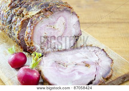 Stuffed Roasted Pork On A Cutting Board