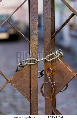 Old Metal Lock On Chain