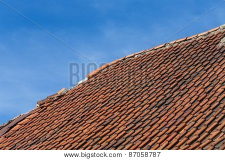 Broken Terracotta Tile On A Roof