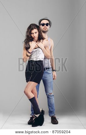 Young Couple In Love  Studio Shot