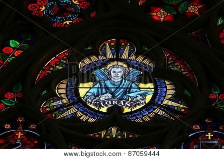 VIENNA, AUSTRIA - OCTOBER 10: Saint Luke the Evangelist, Stained glass in Votiv Kirche (The Votive Church). It is a neo-Gothic church located on the Ringstrabe in Vienna, Austria on October 10, 2014