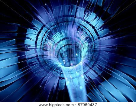 Blue Glowing Futuristic Interstellar Warp Technology
