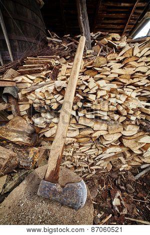 Big Ax And Wood