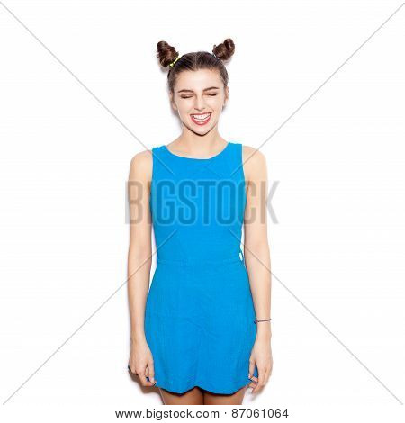 Happy Brunette Woman. Beauty Girl With Bright Make-up Laughing