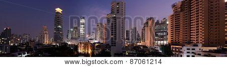 Panoramic view of bangkok city skyline downtown near Sukhumvit