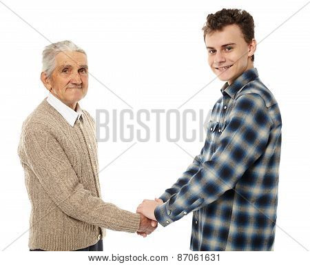 Grandfather And Grandson Shaking Hands