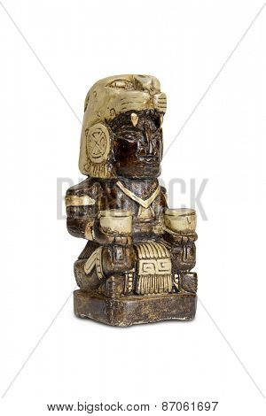 Mexican statue - Mayan god bonfires home isolated with clipping path.