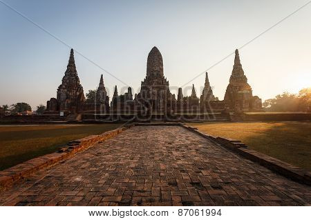 Wat Chai Wattanaram, Old Temple Temple In Ayutthaya Historical Park, Thailand