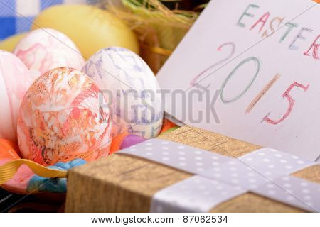 Easter Setting With Gift Box And Spring Decoration