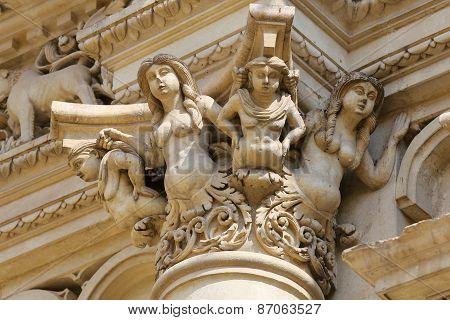 Statues At The Santa Croce Baroque Church In Lecce