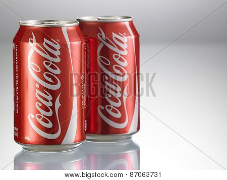 KUALA LUMPUR, MALAYSIA - April 2nd 2015.Photo of a can of Coca-Cola . The brand is one of the most popular soda products in the world and it is sold almost