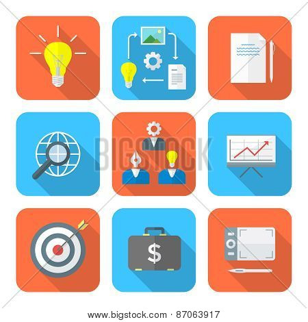 Color Flat Style Creative Business Process Icons Set.