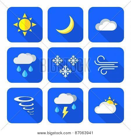 Flat Style Colored Weather Forecast Icons Set.