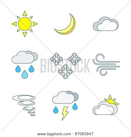 Colored Outline Weather Forecast Icons Set.