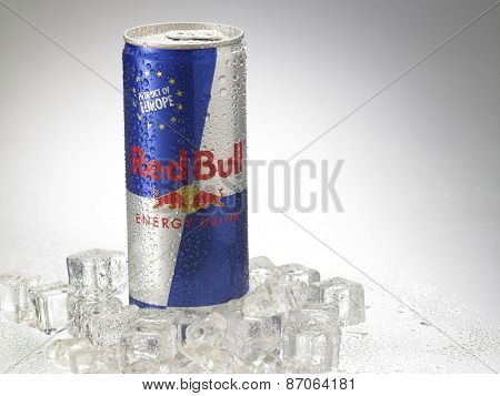 Kuala Lumpur, MALAYSIA- April 2nd, 2015. Can of Red Bull Energy Drink.