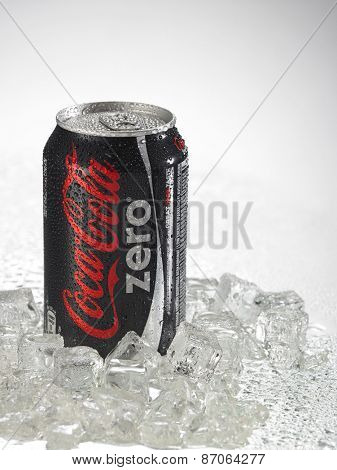 KUALA LUMPUR, MALAYSIA - April 2nd 2015.Photo of a can of Coca-Cola Zero . The brand is one of the most popular soda products in the world and it is sold almost everywhere