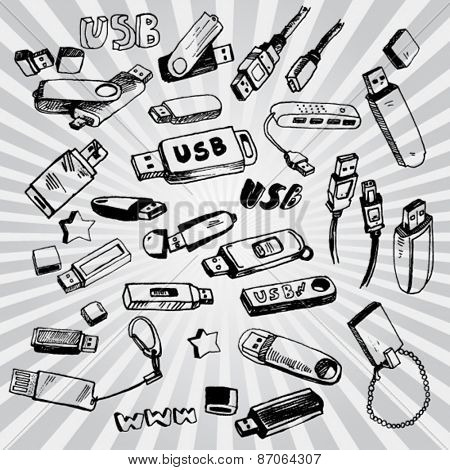 USB Flash disks doodled