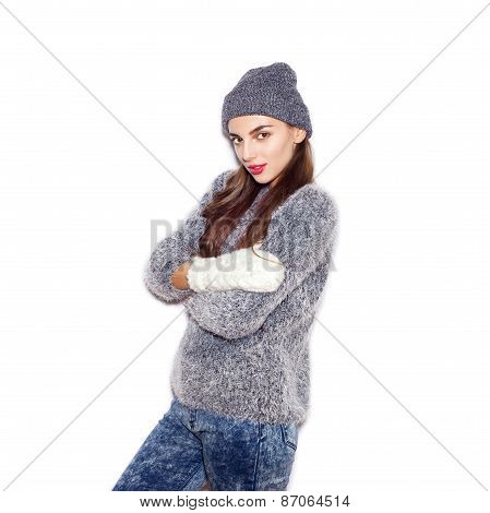 Woman With Knitted Cap