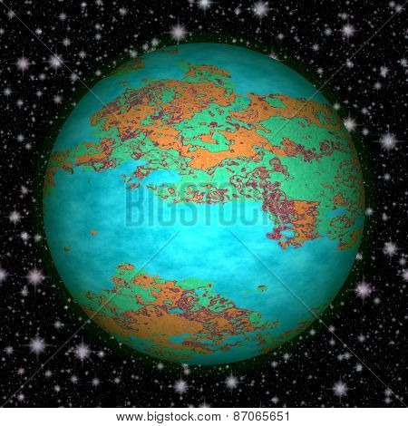 Abstract Planet With Sky And Stars