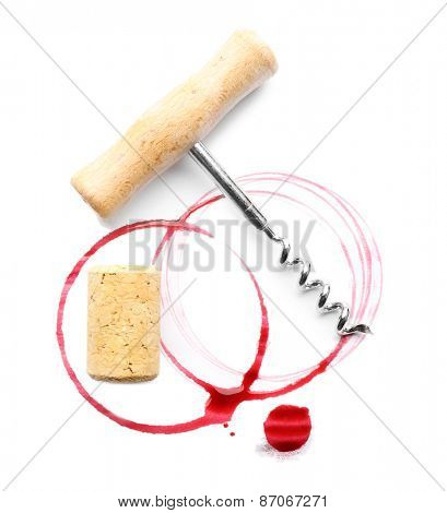 Wine stains, cork and corkscrew  isolated on white