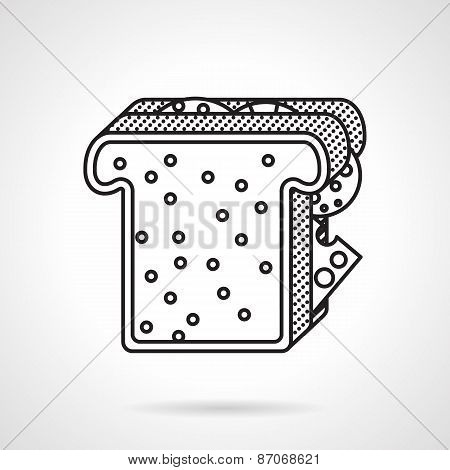 Breakfast toast black line vector icon