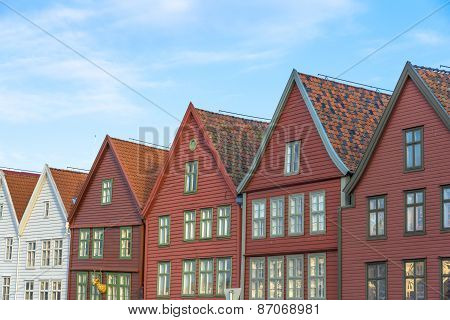 Historic Buildings Of Bryggen In The City Of Bergen, Norway