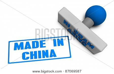 Made in China Stamp or Chop on Paper Concept in 3d