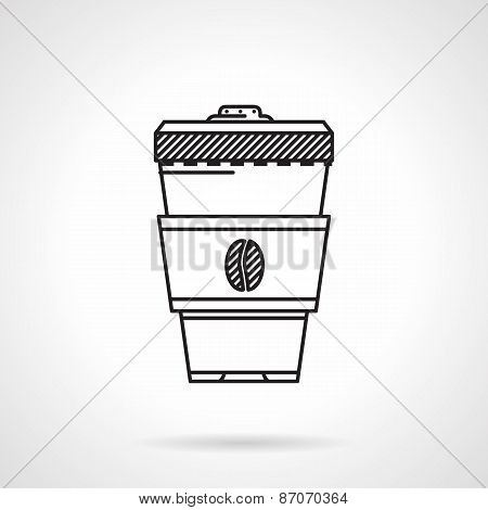 Coffee cup black line vector icon