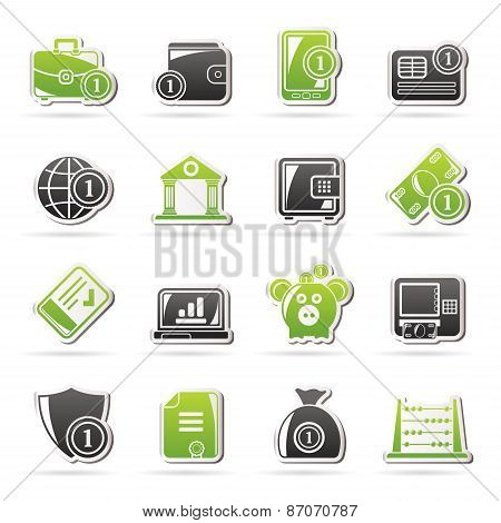 Financial, banking and money icons