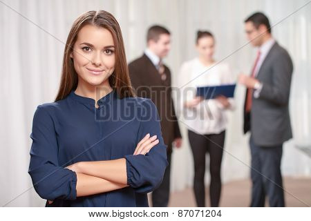 Businesswoman at the meeting