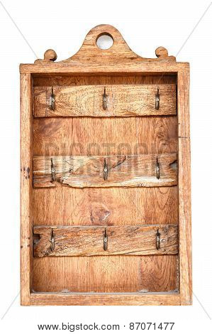 Old Wooden Box For Hanging Keys On White Background