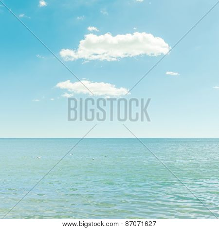 good sea and blue sky with clouds