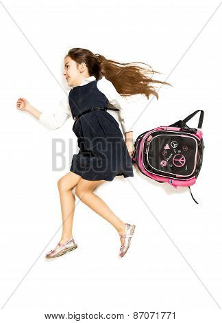Cute Schoolgirl Being Late And Running To School With Backpack