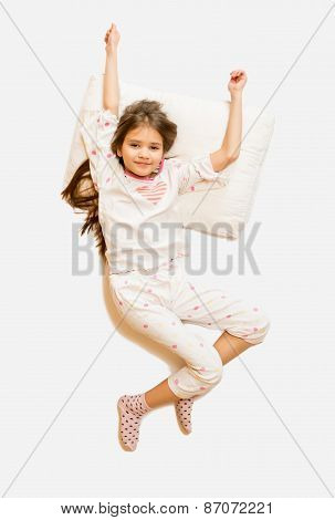 Isolated Photo From Top Of Cute Girl In Pajamas Waking Up