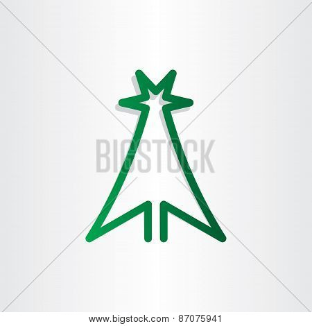 Christmass Tree Green Line Icon Design