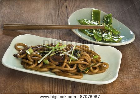 Stir Fried Udon Noodles With Bok Choy, Oyster Mushroom And Scallions And Fried Green Beans