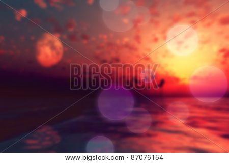 Sun And Moon Over Island