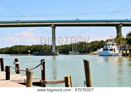 High Rise Bridge over Waterway in Florida